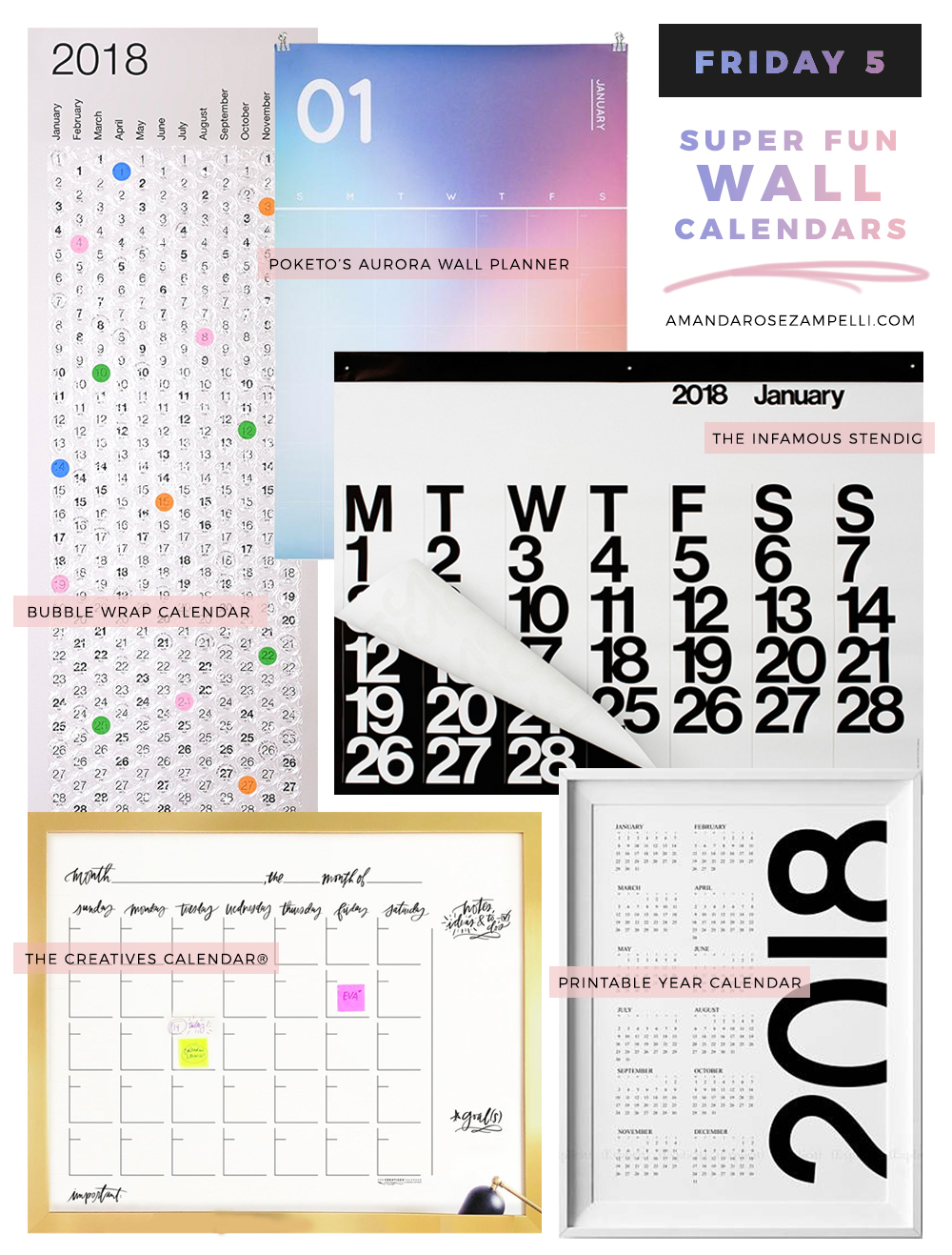 Five FUN Wall Calendars | Amanda Zampelli