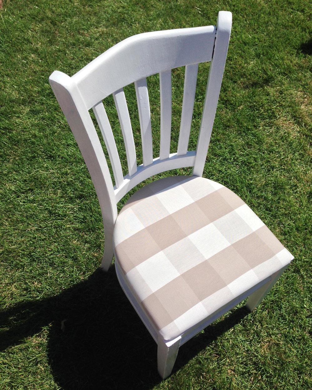 painted and reupholstered dining chairs - DIY home decor | Amanda Zampelli