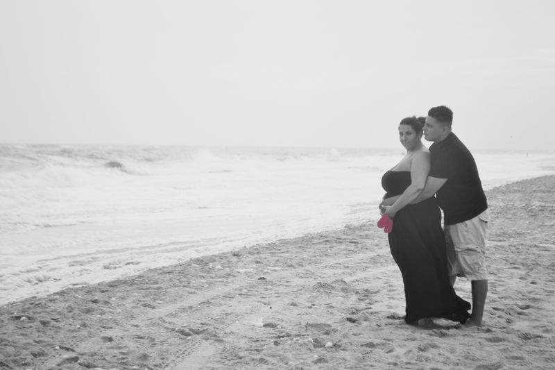black & white beach photoshoot baby announcement | Amanda Zampelli