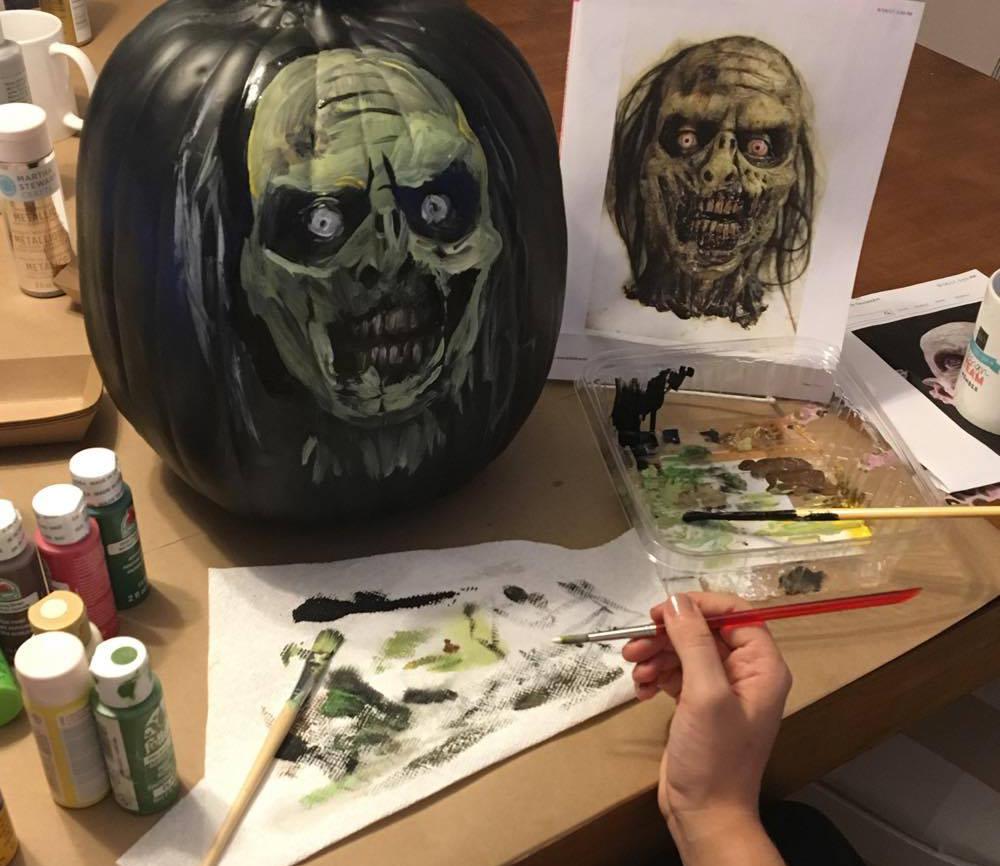sister fun painting pumpkins for Halloween 2017 | Amanda Zampelli
