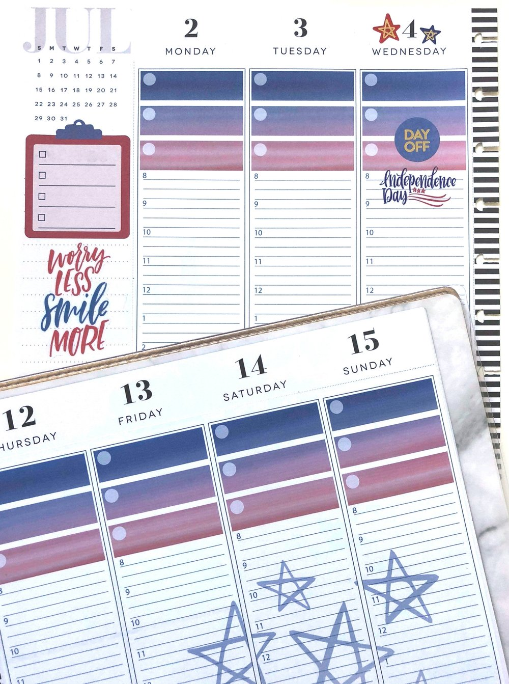 July 2018 Planner Strips for The Happy Planner™ | Amanda Zampelli