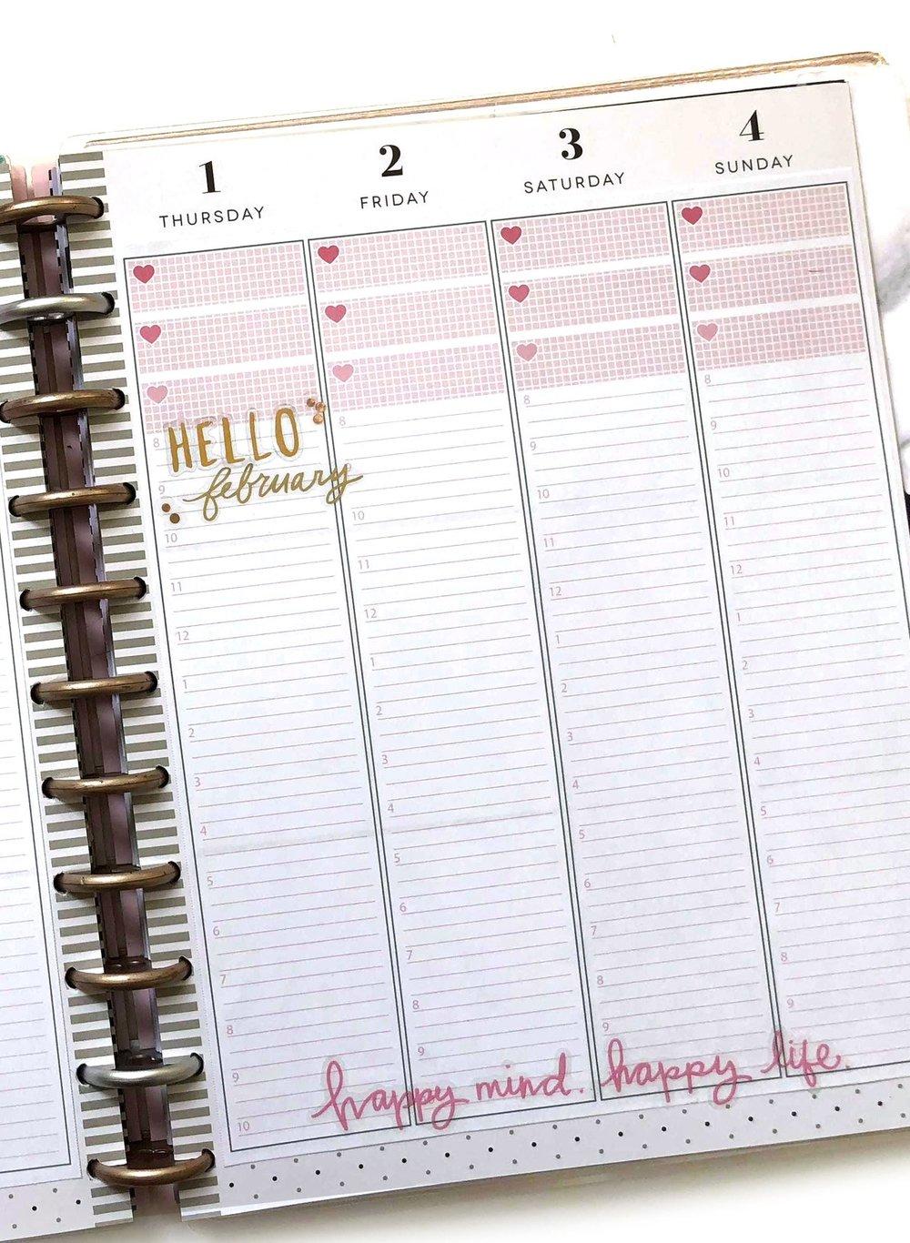 FEBRUARY 2018 Planner Strips for The Happy Planner™ | Amanda Zampelli