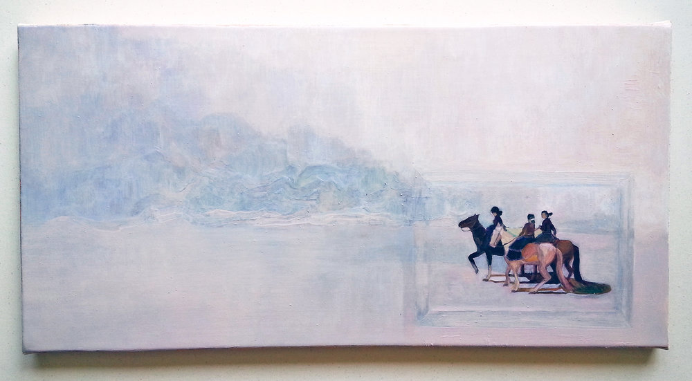 "Unframed (the ladies), 2015, oil on canvas, 12"" x 24"""
