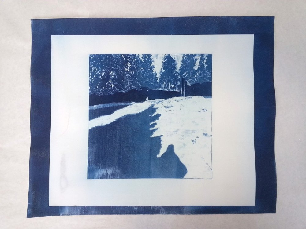 I drew the negative for this cyanotype, then exposed it in the darkroom.