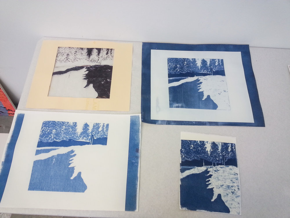 (L top) Drawn negative on glassine, (R top) exposed in the UV processor, (L bottom) exposed in the sun, (R bottom) watercolor paper exposed in the UV processor