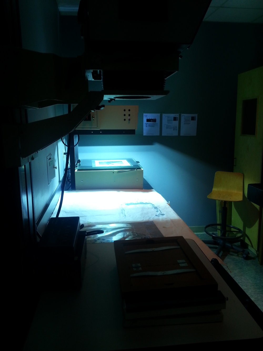 Exposing my cyanotype in the UV processor