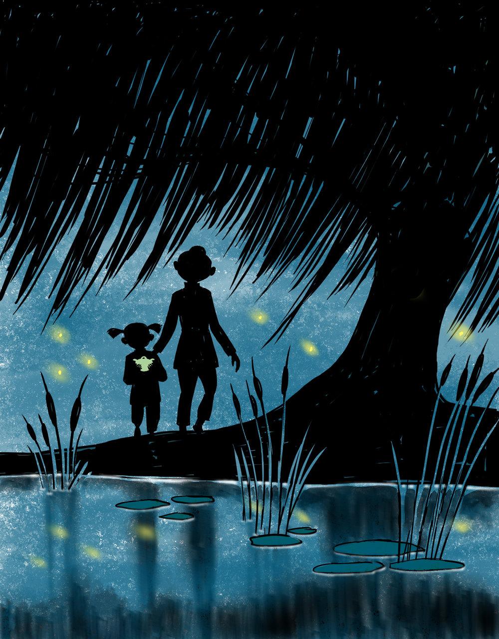 hu and mom walking to pond.jpg
