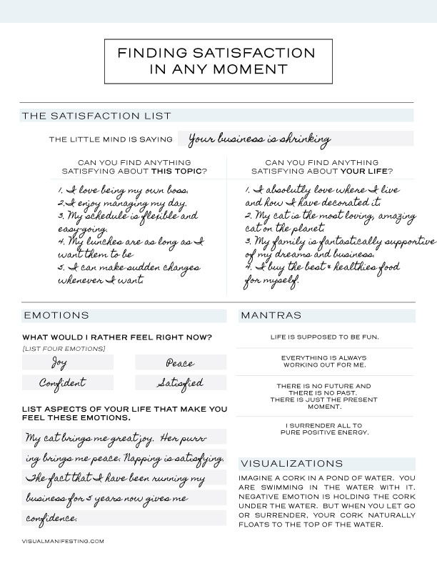 Finding Satisfaction Printable - Feel free to download and use one of my favorite methods for increasing my vibration.