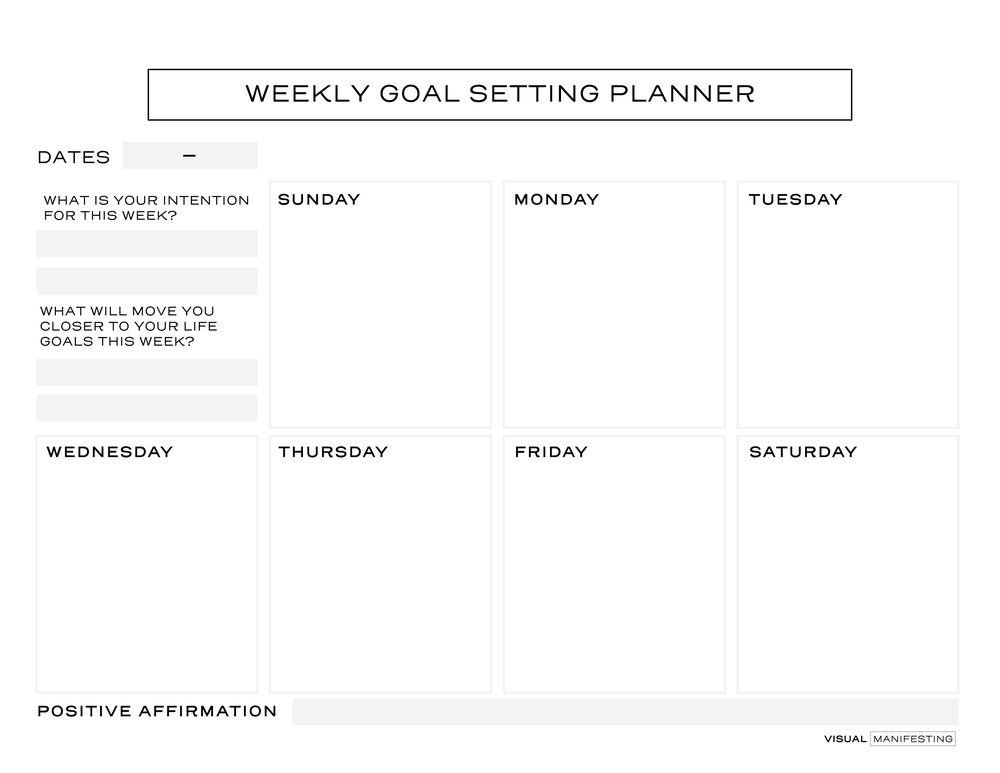 Landscape Version of our  Law of Attraction Weekly Planner   Download here