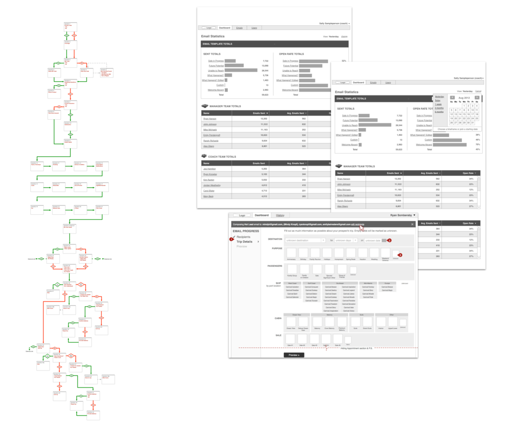 Miscellaneous UX artifacts. Left: Decision tree for interview bot. Right: Internal tool for popular cruise line (in collaboration with another UX professional.