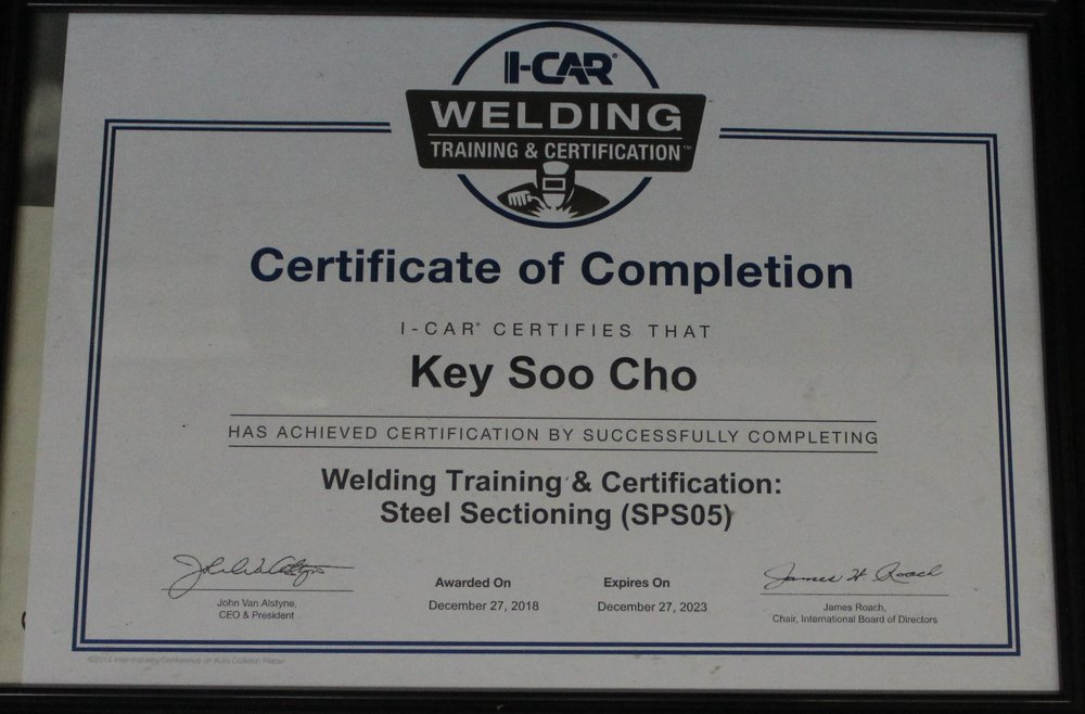 certificate cho's body shop.JPG