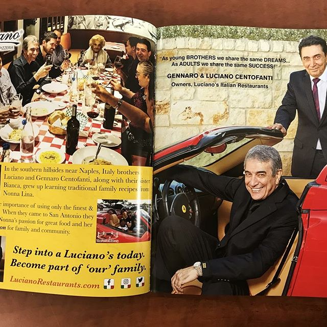 "Congratulations to the founders of Luciano's ~ Gennaro and Luciano Centofanti.  The two of them were named a 'Man of Distinction"" in a recent publication honoring some of San Antonio's top Entrepreneurs, Restaurateurs, Entertainers, CEO's and more.  Through Hard Work and Dedication, these Men continue to fulfill their desire to succeed!"
