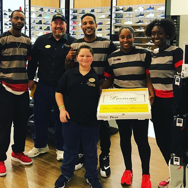 Thanks to the crew at The  Shoe Palace in The Galleria.  They were our first mall order.  So they received a special delivery from our Marketing Director Brian A. Billeck and our little Luciano Chef Damon.  We even bought a new pair of shoes. Great Staff.  @shoepalace
