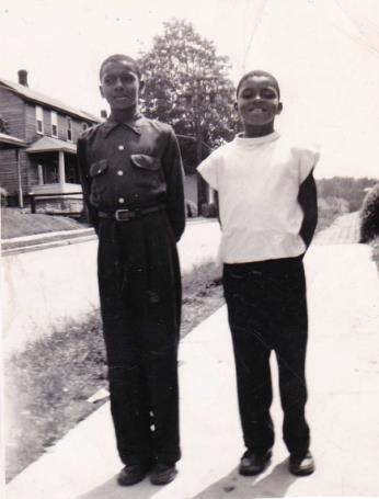 Gilbert (right) and Chester Carter on Center St 1953.jpg