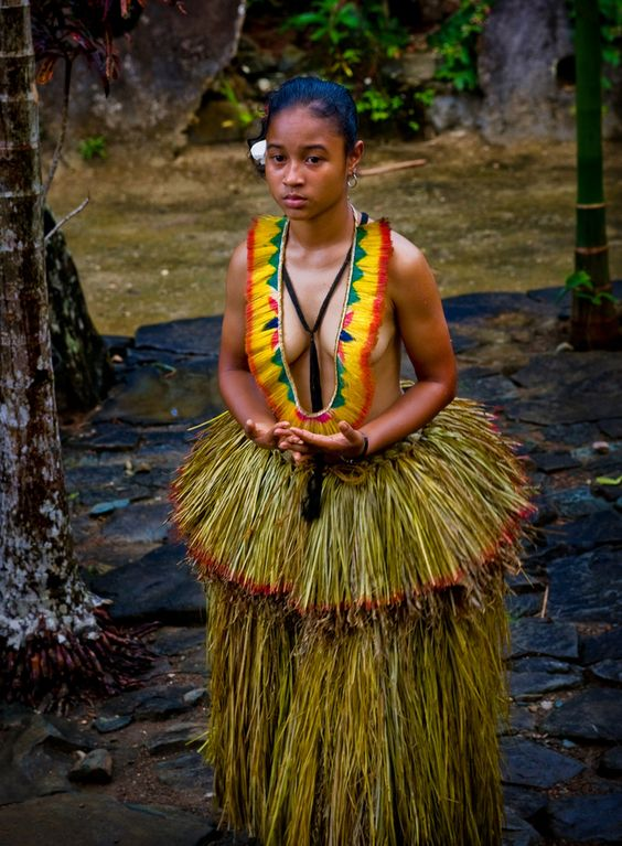 Young Yapese in traditional dress