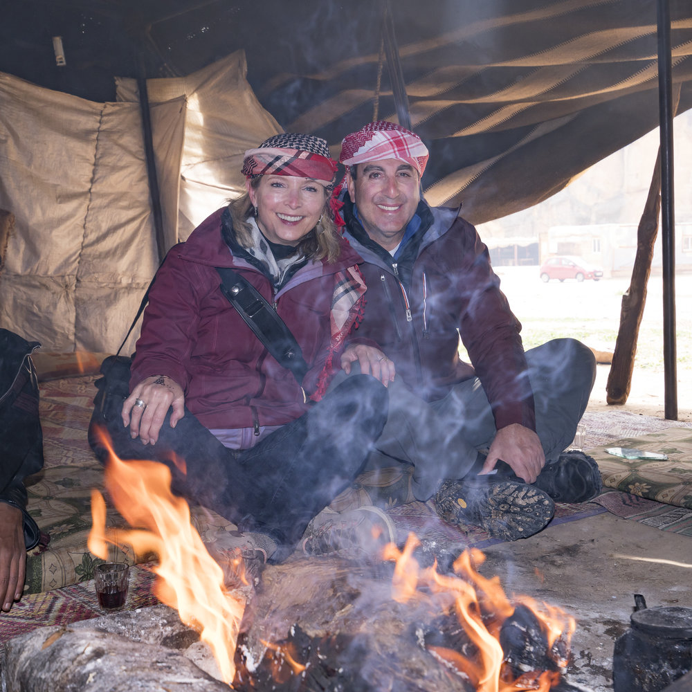 Once in the tent he dressed us up in the traditional headscarves.