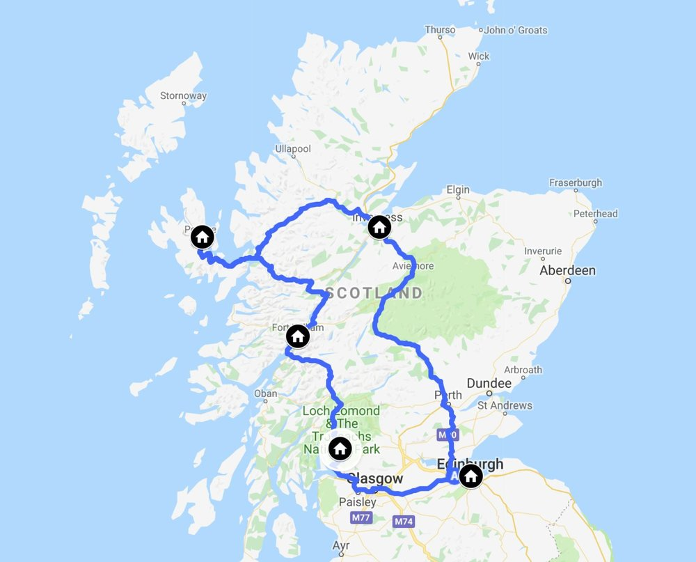 We left the Edinburgh airport and headed clockwise up into the Scottish Highlands, land of Jamie and Claire, for fans of the Outlander books and tv series.