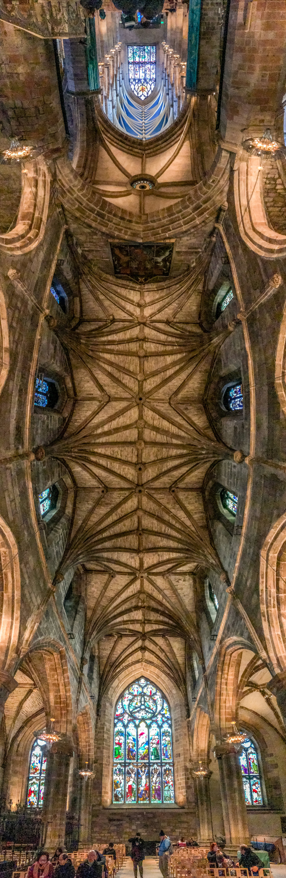 Panorama view of the ceiling of St. Giles Cathedral