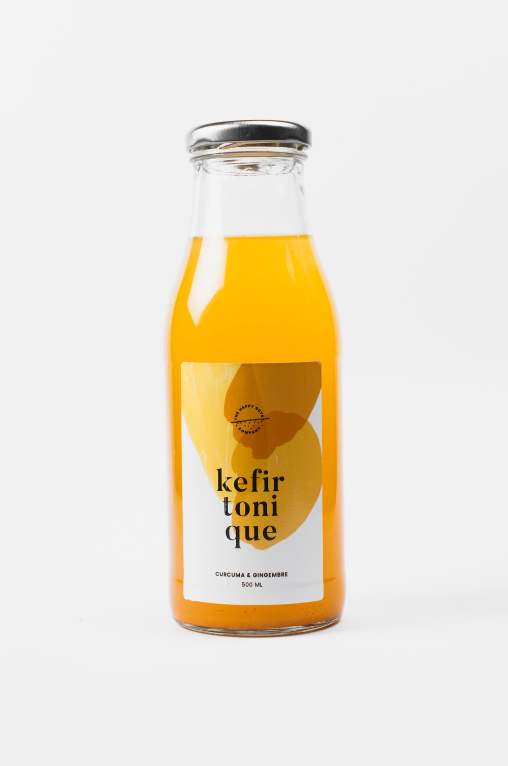 Turmeric and Ginger Kefir Tonic  An antioxidant and anti-inflammatory probiotic powerhouse that turbocharge your body  Ingredients: water, fresh ginger *, fresh turmeric *, raw cane sugar *(consumed during fermentation), lemon juice *, fruit kefir grains (tibicos)  * certified organic  may contain trace of alcohol  Available size: 250ml & 500ml