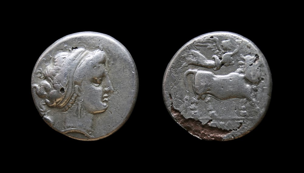 Neapolis (c. 320-300 BCE). Fourrée didrachm. Obv: Head of nymph right; grape cluster behind. Rev: Man-headed bull standing right, crowned by Nike, NEOΠOΛITHΣ in ex. 6.73g 20.5mm