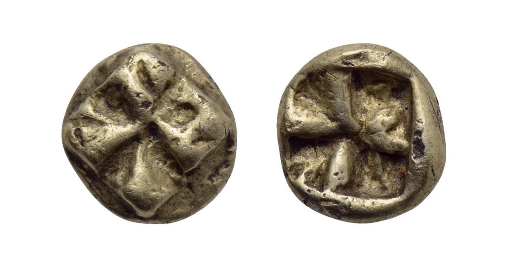 IONIA (c. 625-600 BCE).  Fourrée Hemihekte, uncertain mint.  Obv: Raised swastika pattern. Rev: Quadripartite incuse square punch. 0.97g 8mm