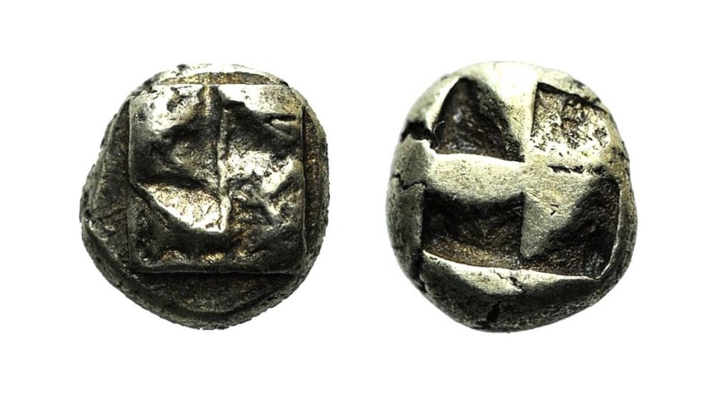 IONIA (c. 625-600 BCE). Electrum hekte, uncertain mint in northern Ionia. Obv: Raised swastika pattern. Rev: Quadripartite incuse square punch. 2.53g 9mm