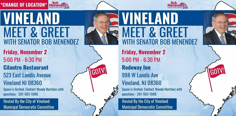 Bob Menendez campaign event was moved from a motel.