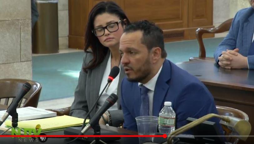Screenshot of live feed of Alvarez testimony