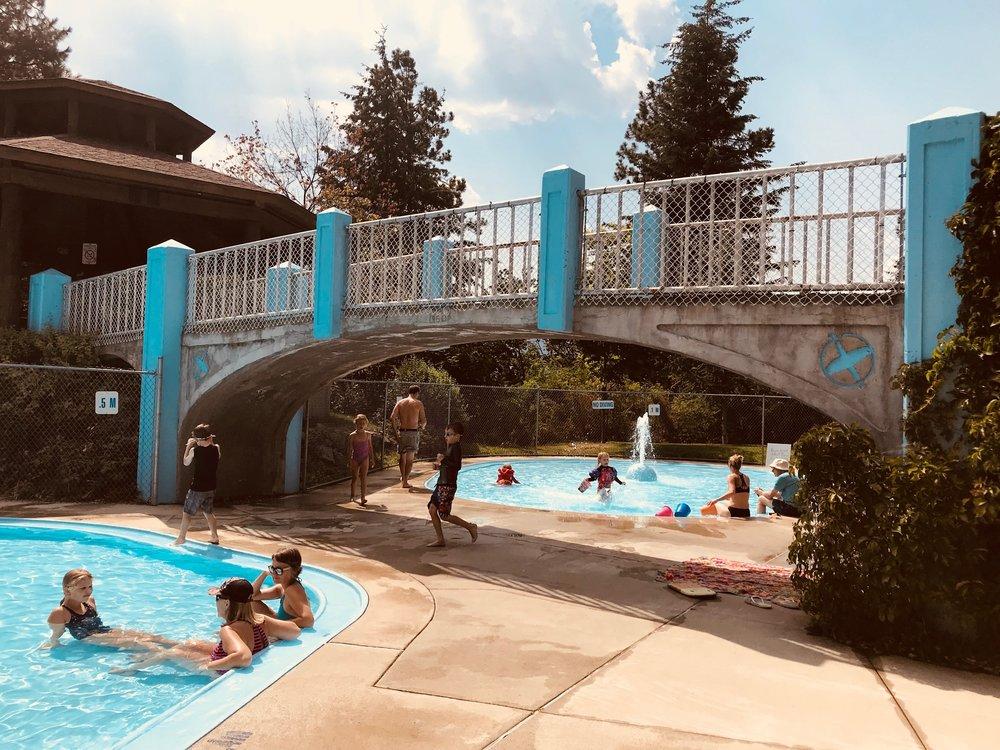 Gyro Park in Nelson, B.C. –  children's wading pool open to the public by donation.
