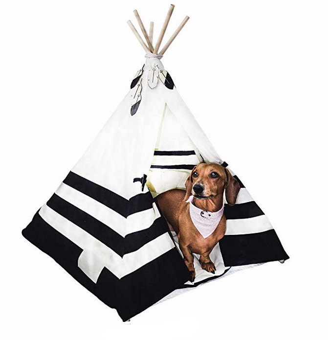 BLACK AND WHITE PET TEEPEE