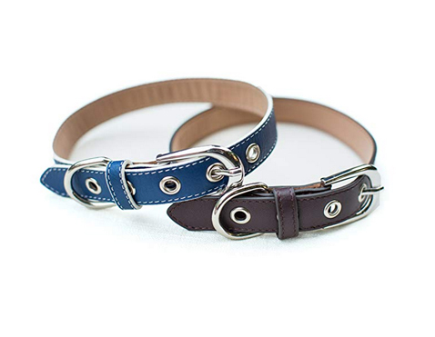 Blue Leather dog collar handmade.jpg