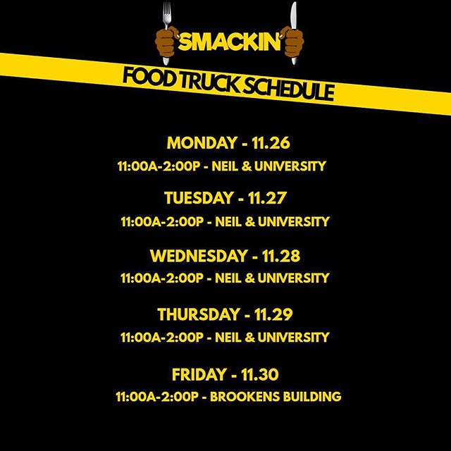 YOOO! SMACKIN' will be out all week for LUNCH! 🚚💨😊 708-400-9578 is the number to call ahead 📲