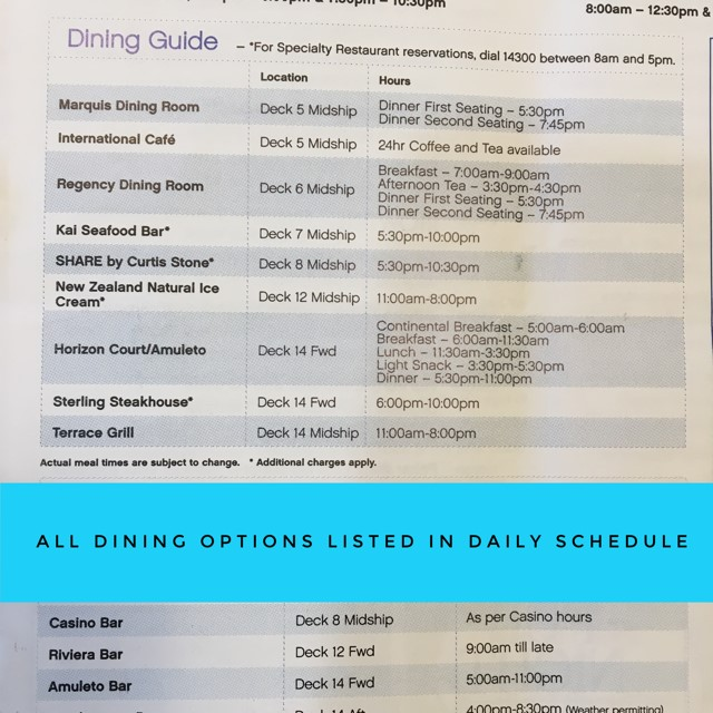 cruise food dining hours