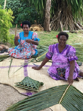 weaving coconut fronds