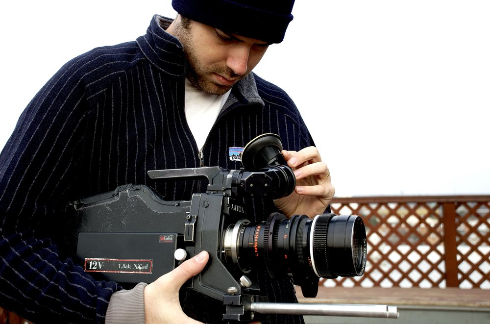 Filmmaker Justin Malone between takes