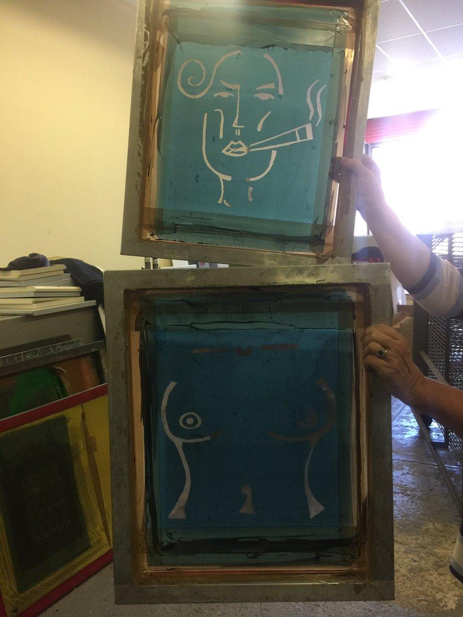 Screen prints of JEMIMASARA 'SALLY' & 'BOOB' collection,  in printing studio, Shropshire, England.