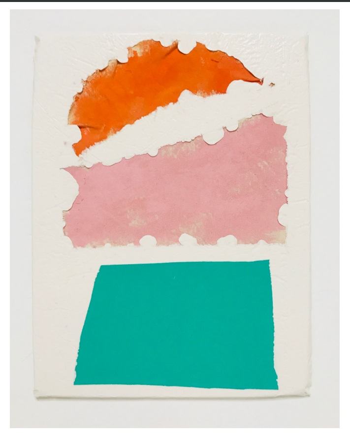 Untitled Fragment (orange and pink canvas, green foam)   Composite and Mixed Media   42 x 32cm  Dean Street Townhouse Collection 2018