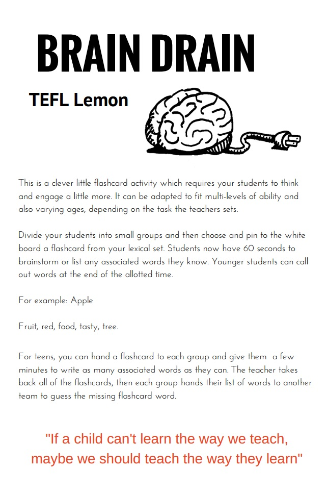 This game came from the  129 Different TEFL Lemon Flashcard Games  ebook  on sale here