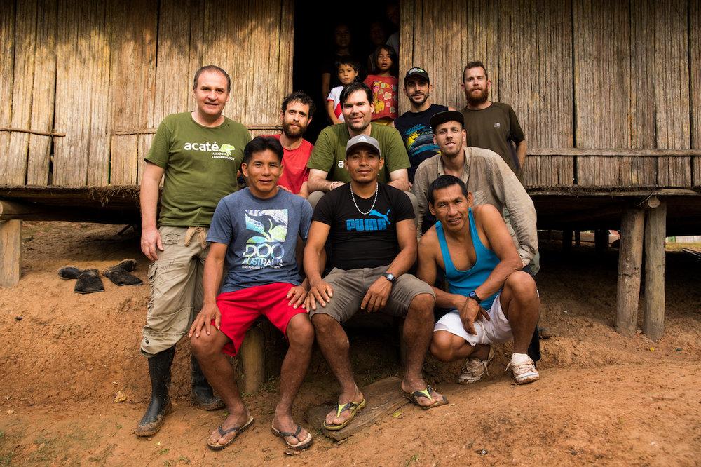 The Acaté Amazon Conservation / Matsés / Xapiri team. Front row from left to right; Mariano, Felipe Ëpë Bai Unan and Segundo Shabac Reyna. Back row from left to right; William Park, Tui Anandi, Christopher Herndon, David W. Fleck, Mike van Kruchten and Jack Wheeler.