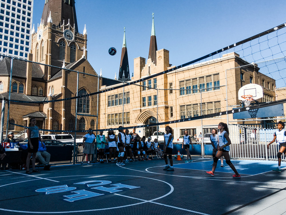 We hosted our first volleyball game on our sports court this week!