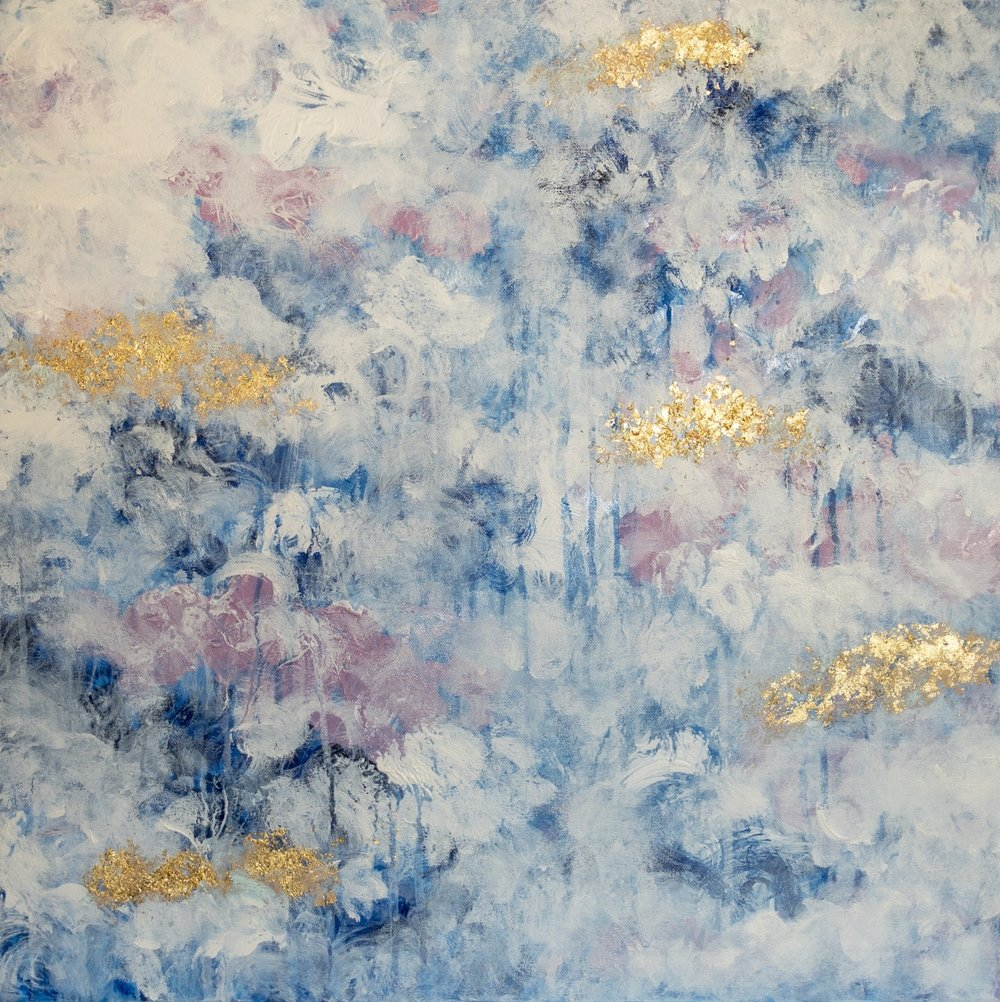 FLORAL 2  24x24  Acrylic and applied gold leaf on canvas