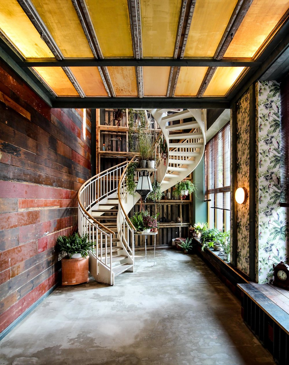 White spiraling staircase and plants