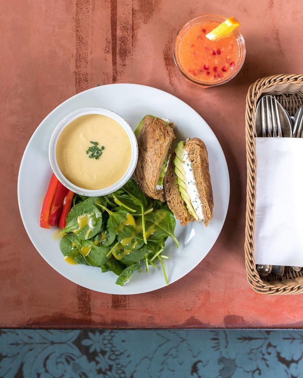 Sandwiches, salad and juice at House of small wonder