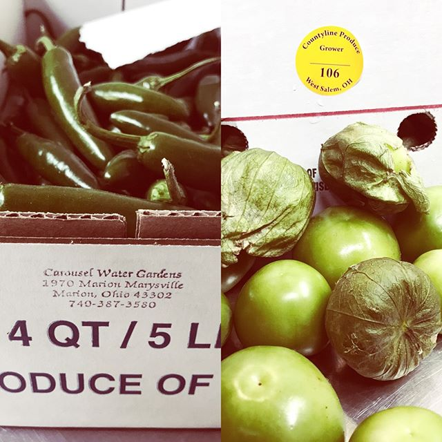 Fresh tomatillos and serrano peppers.  Thanks B&K! #ohiogrown #whatareweworkingonnow