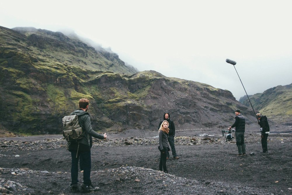 filming on set at eyjafjallajökull glacier