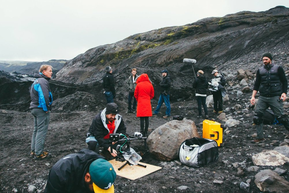prepping for our shoot on top of the glacier