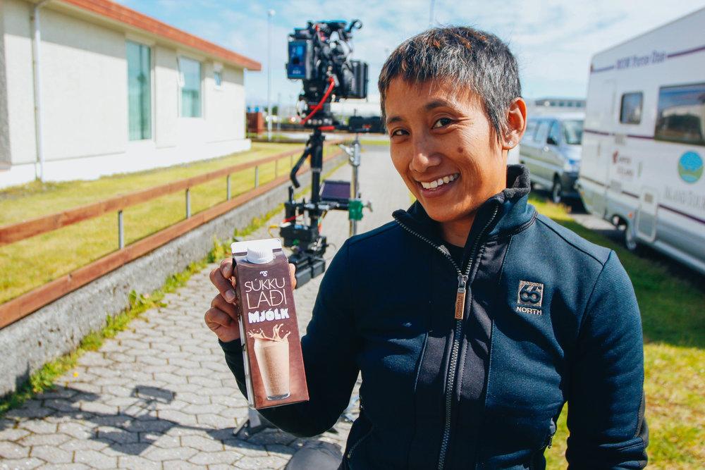 liana's drink of choice, chocolate milk