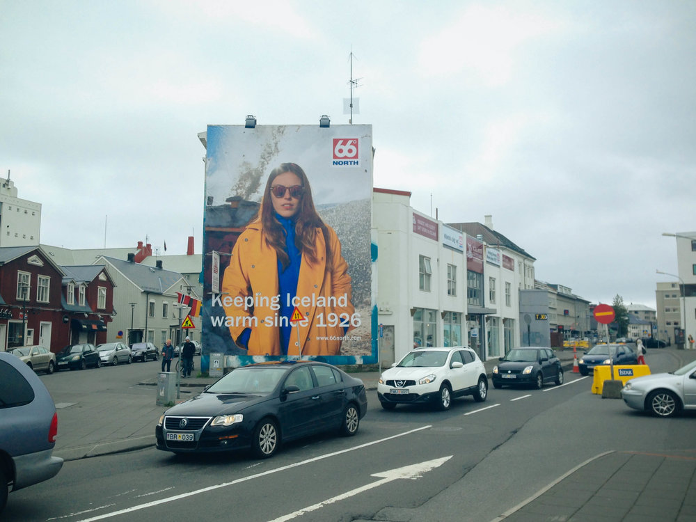 the ubiquitous 66° North billboards