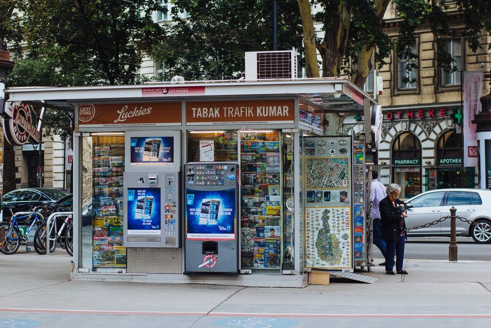 Yup, we're definitely not in North America. That's a cigarette dispensing vending machine.