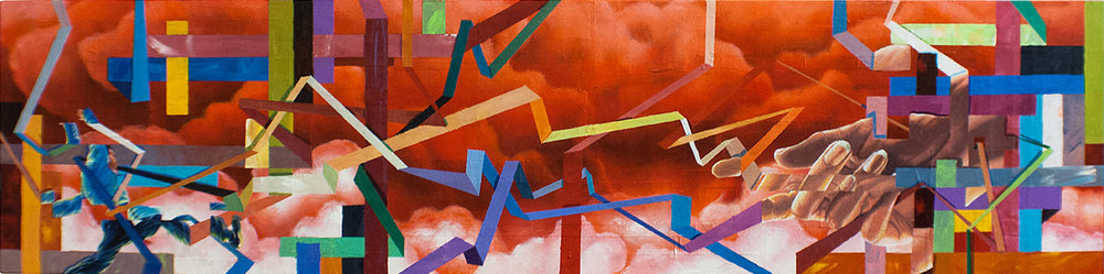 "CAN YOU PICTURE WHAT WILL BE, SO LIMITLESS AND FREE (PHASE 1&2): MOVEMENT 2 48""x12"". ACRYLIC & PAPER COLLAGE ON CANVAS"